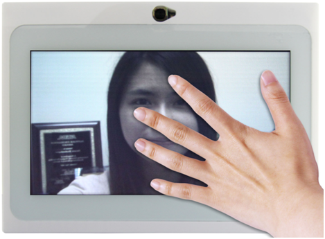 Five-fingers touch to stop the camera video