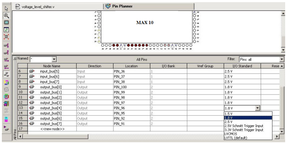 I/O Standards to I/O Pins in the Pin Planner in the Quartus II Software